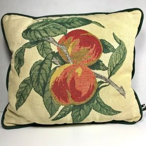 Newport Embroidered Tapestry Throw Pillow Peaches